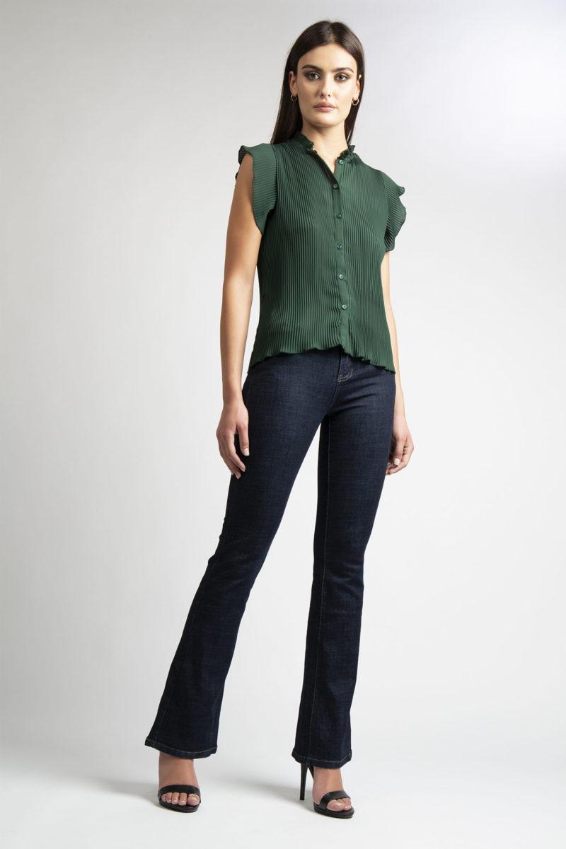 Camicia girocollo plisse' mezza manica L11-1