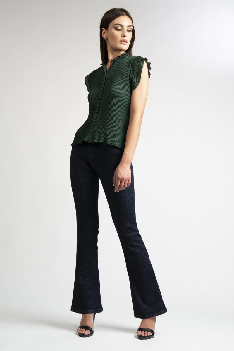 Camicia girocollo plisse' mezza manica L11-2
