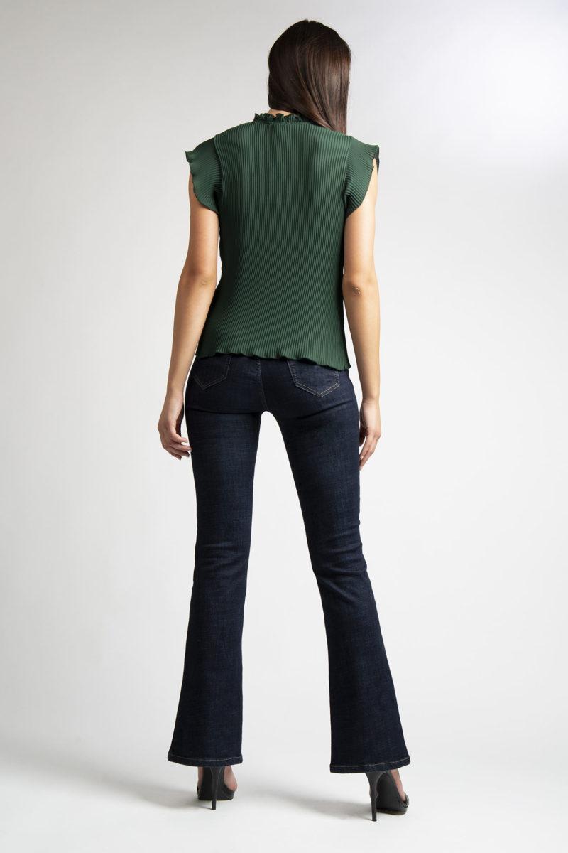 Camicia girocollo plisse' mezza manica L11-3