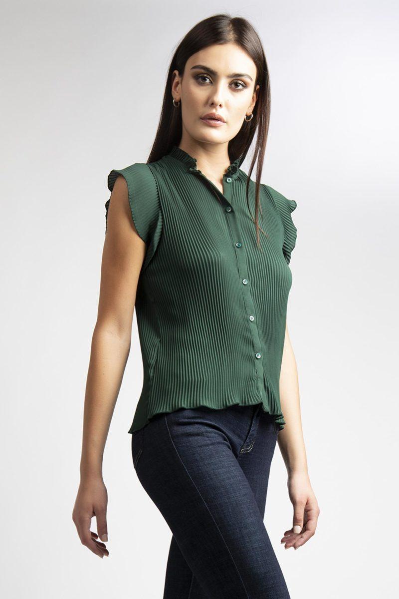 Camicia girocollo plisse' mezza manica L11-4
