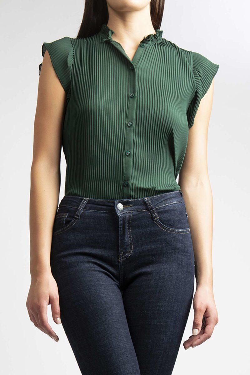 Camicia girocollo plisse' mezza manica L11-5