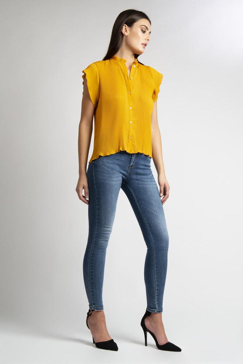 Camicia girocollo plisse' mezza manicaL36-3