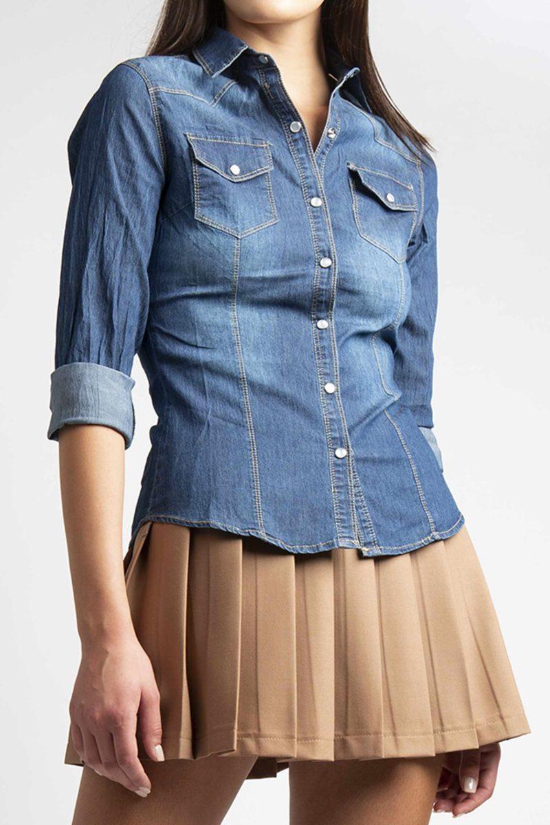 Camicia jeans stretch bottoni in madreperla L8-4