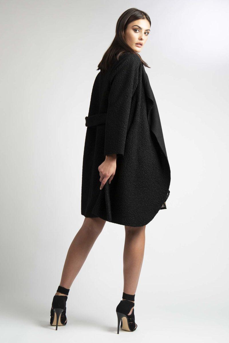 Cappotto over collo ampio con cintura L4-3