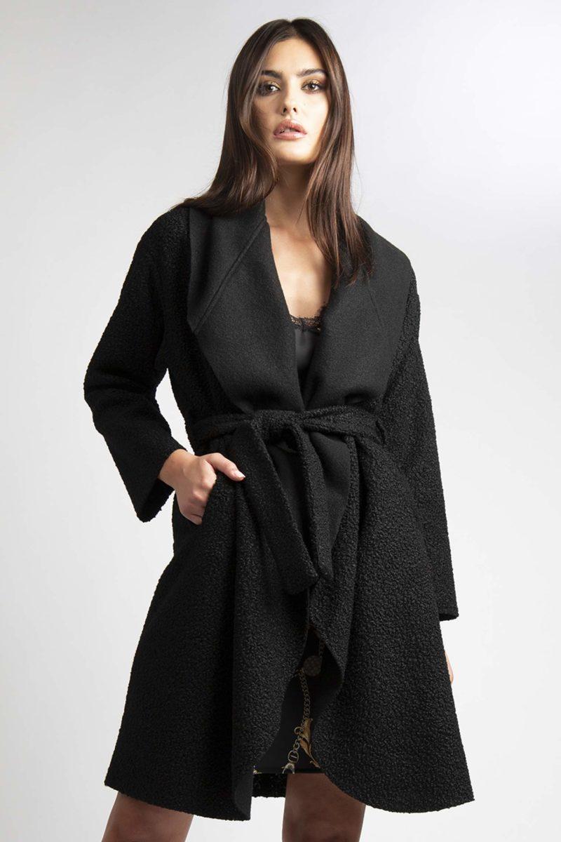 Cappotto over collo ampio con cintura L4-4