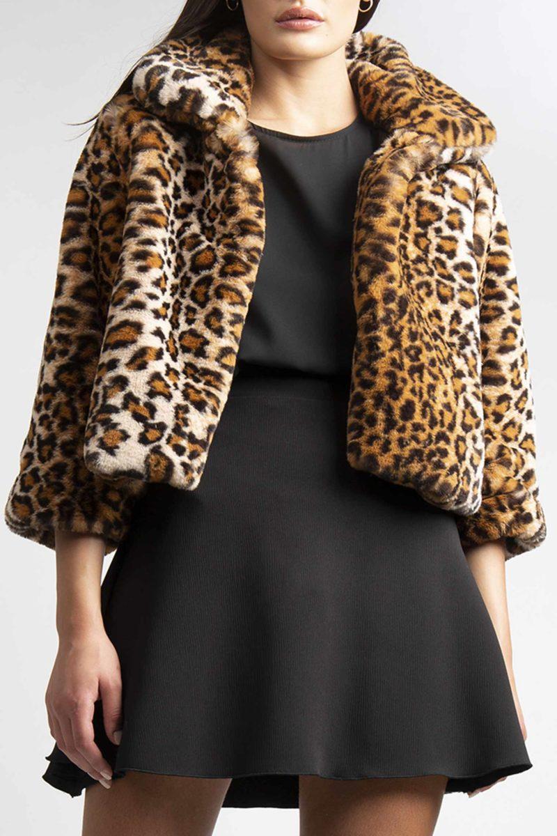 Giacca in ecopeliccia leopardata animalier un bottone L7-5