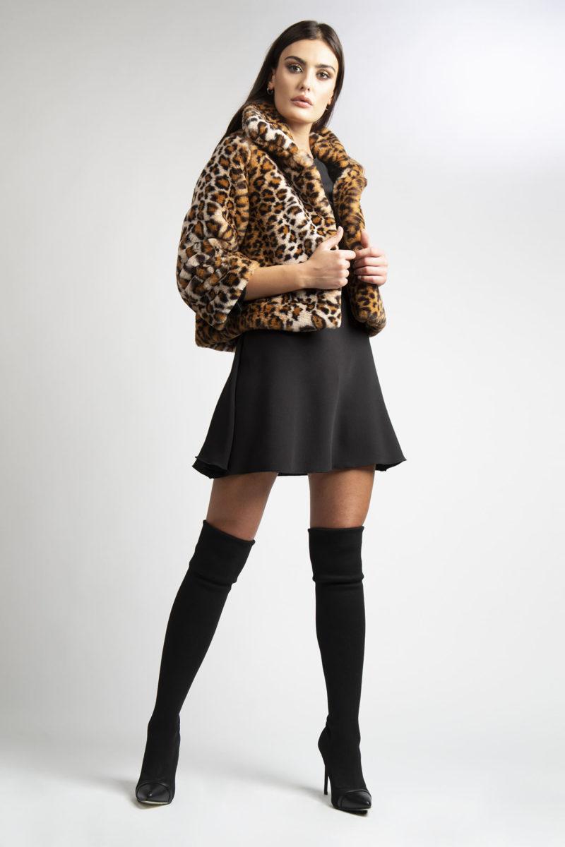 Giacca in ecopelliccia leopardata animalier un bottone L7-2
