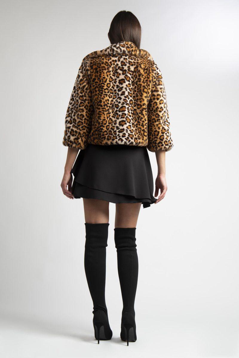 Giacca in ecopelliccia leopardata animalier un bottone L7-3