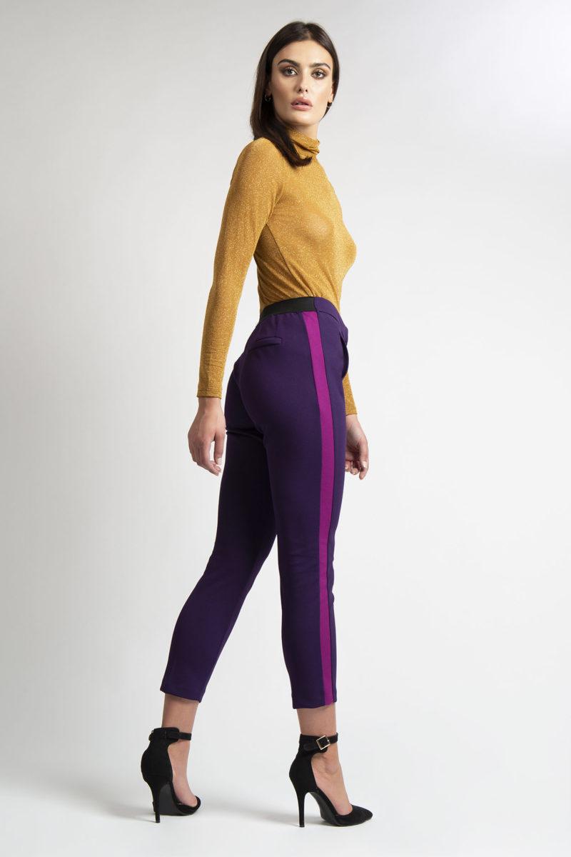 Pantalone con tasche banda laterale a contrasto L46-4