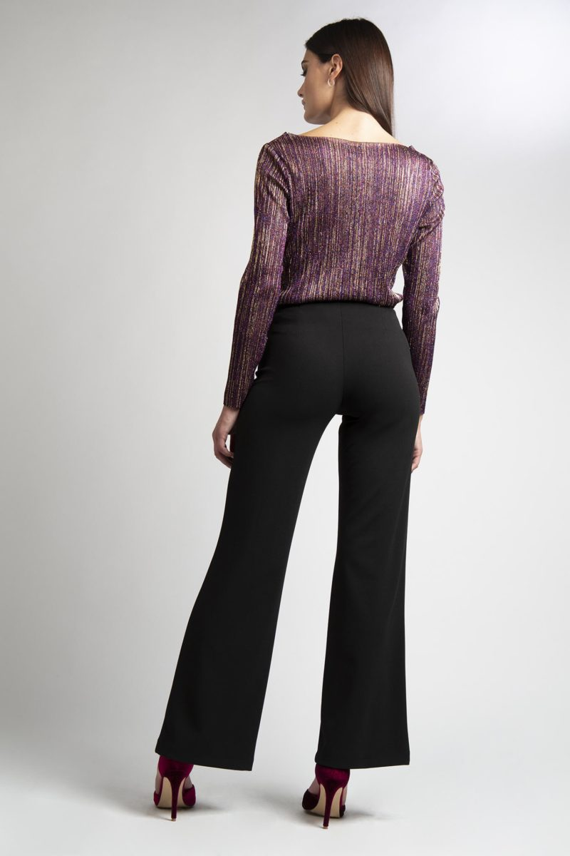 Pantalone vita alta senza bustino largo al fondo