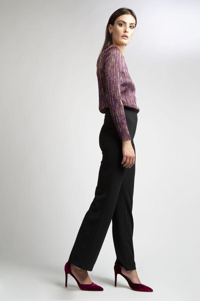 Pantalone vita alta senza bustino largo al fondo 49-3